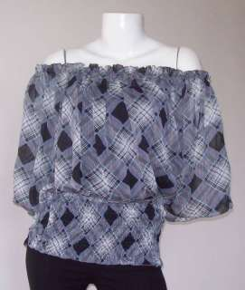 GRAY GAUZE SILK GIPSY PEASANT BLOUSE SHIRT TOP ONE SZ
