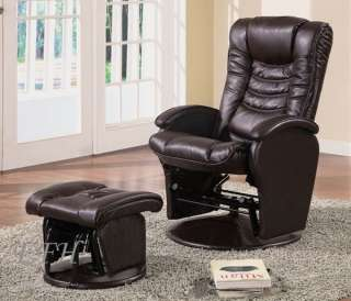 LEDUE MODERN BROWN BYCAST LEATHER GLIDER CHAIR OTTOMAN
