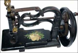 Early rare hand crank chain stitch cast iron sewing machine 1870s NO