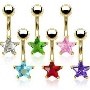 Gold Plated Clear Colored Prong Set Star Cubic Zirconia
