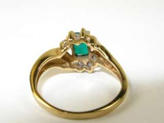 Natural Colombian Emerald .25ctw Diamond 10k Y Gold Ring 2.6g