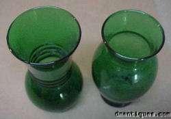 Vintage Pair Emerald Green Art Glass Vases