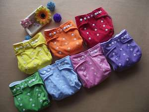 WHOLESALE LOT 7 pcs Reusable Baby Cloth Diaper Nappy + 7pcs Inserts