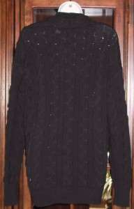Victorias Secret $49.50 Cotton Cable Boyfriend Cardigan BLACK