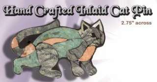 Inlaid Stone CAT Pin Hand Crafted by Barry Stein