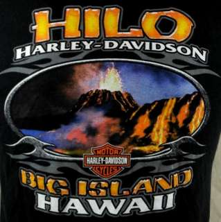 Davidson Motorcycles Big Island Hawaii Volcano T shirt Small Black