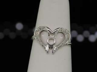 LADIES WHITE GOLD DIAMOND MOM MOTHER HEART LOVE RING