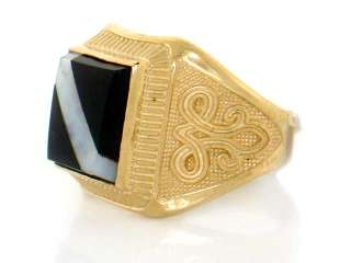 10K SOLID YELLOW GOLD ONYX & MOTHER OF PEARL MENS RING