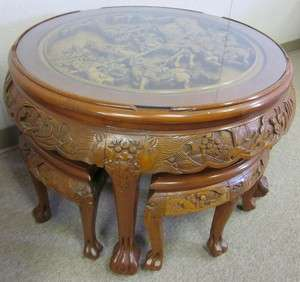 Round Heavily Carved Chinese Table with Stools