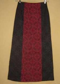 MORBID Threads VTG BLACK & RED Brocade GOTHIC Vampire MAXI SKIRT Goth