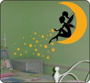 Whimsy Fairy w/ Wand on Moon & Blowing Stars Wall Decal