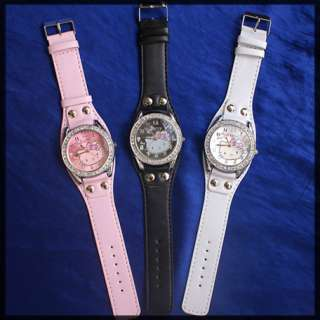 10 pcs hello kitty girl crystal watches hw08 free