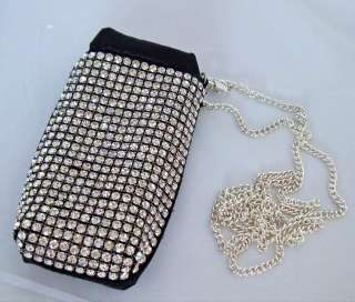 Mobile Cell Phone Holder Pouch Bag Rhinestone + Black Satin New
