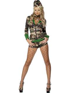 Sexy Army Military Girls Fancy Dress Outfit Ladies Uniform Costume