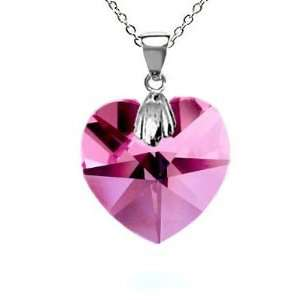 CandyGem 925 Sterling Silver Genuine 1inch Hot Pink Crystal Heart by