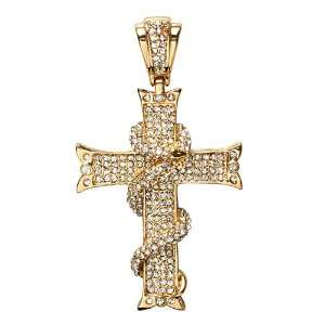 18K Yellow Gold Plated White CZ Cubic Zirconia Micro Pave Hip Hop Men
