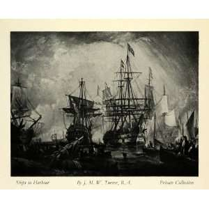 1932 Print Joseph Mallord William Turner Sailing Ships Harbor English