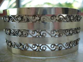VTG OLD WIDE MEXICO MEXICAN STERLING SILVER BEAD SCROLL CUFF BRACELET