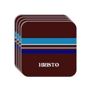 Personal Name Gift   HRISTO Set of 4 Mini Mousepad Coasters (blue