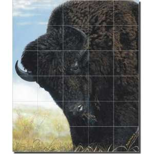 Midday on the Grassland by Justin Sparks   Animal Buffalo Ceramic Tile