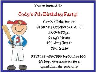 Personalized Baseball Themed Birthday Party Invitations
