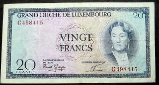 LUXEMBOURG 20 FRANCS NOTE