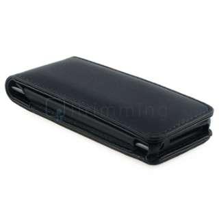 For Apple iPod NANO 5G 5th Generation Black Leather Hard Flip Case