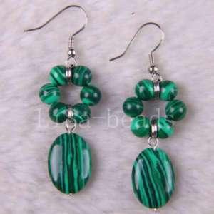 Green Malachite Loose Beads Dangle Earrings LU123