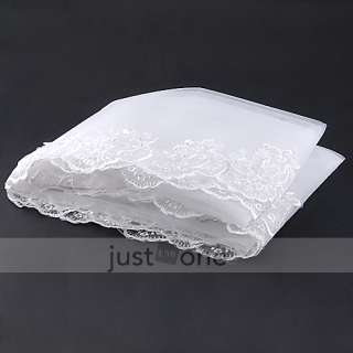 Elegant Gracious Cathedral Wedding Bridal Veil Chic Lace Edge Long