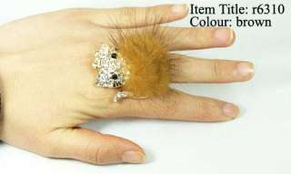 Luxury Gold Plating Feather Kitty Cat Gemstone CZ Adjust Cocktail Ring