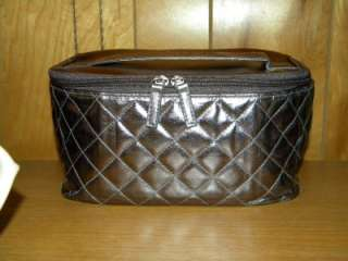 Avon Cosmetic Quilted Train Case Cosmetic Bag Metalic Pewter Bronze