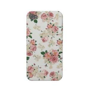 White Pink Vintage Floral iPhone 4/4S Case Iphone 4 Case mate Cases