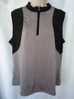 NWT Jamie Sadock Tank Shirt Sleeveless Gray Black XL