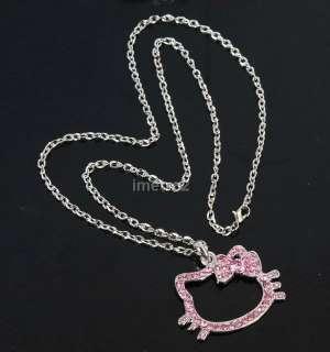 2x hello kitty cat pink bow lucky key swarovski crystal fashion chain