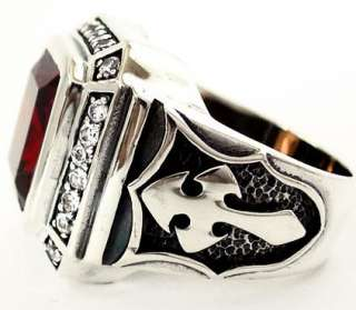 BIG KNIGHT TEMPLAR CROSS RING Sz 15 RED RUBY DIAMOND STERLING 925