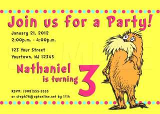 DR. SEUSS THE LORAX Birthday Party Invitation   Multiple Designs