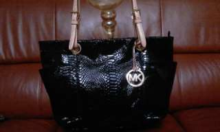 MICHAEL KORS JET SET ITEM PYTHON BLACK TOTE SNAKE BAG PURSE