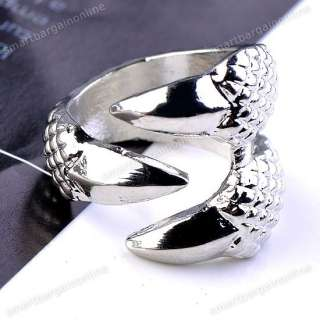 1x Vintage Ancient Silver Tone Punk Gothic Spike Eagle Claw Ring S6