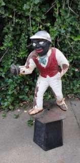 Antique Cast Iron Black Americana Lawn Jockey  Jocko Statue