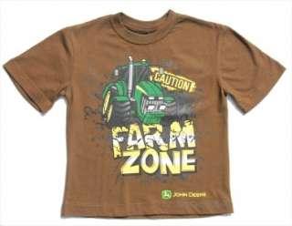 New JOHN DEERE Boys T Shirt Size 7 Brown FARM ZONE Tractor