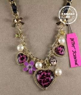Free Ship BETSEY JOHNSON Pink leopard heart Monkey necklace