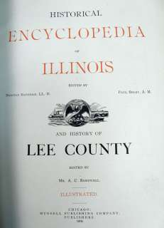 ENCYCLOPEDIA ILLINOIS HISTORY LEE COUNTY RARE BOOK 1904 Dixon Amboy