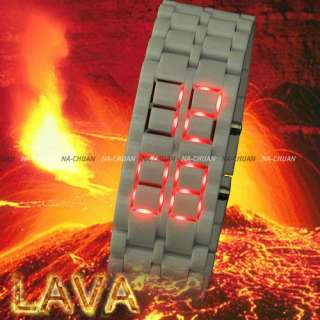 Lava Iron Red Blue LED Lights Sports Date Digital Bracelet Mens Lady