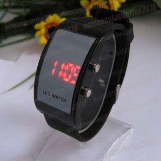 LED Digital Mirror Watch Black Silicone Jelly Sports Wrist Watch