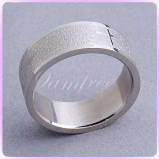 Cross Lection Lord Prayer 316L Stainless Steel Ring 7#
