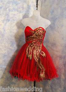 Short Party gown formal dress RED peacock Style Tulle sizes exsmall to