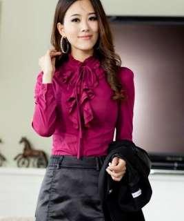 wholesale Hot Sale Falbala Long Sleeve Lace up Blouse Rose