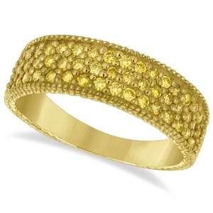Three Row Fancy Yellow Canary Diamond Ring Band 14k Yellow