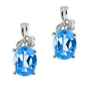 3.01 Ct Genuine Oval Swiss Blue Topaz Gemstone 18k White