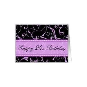 24th Happy Birthday Card   Purple and Black Swirls Card